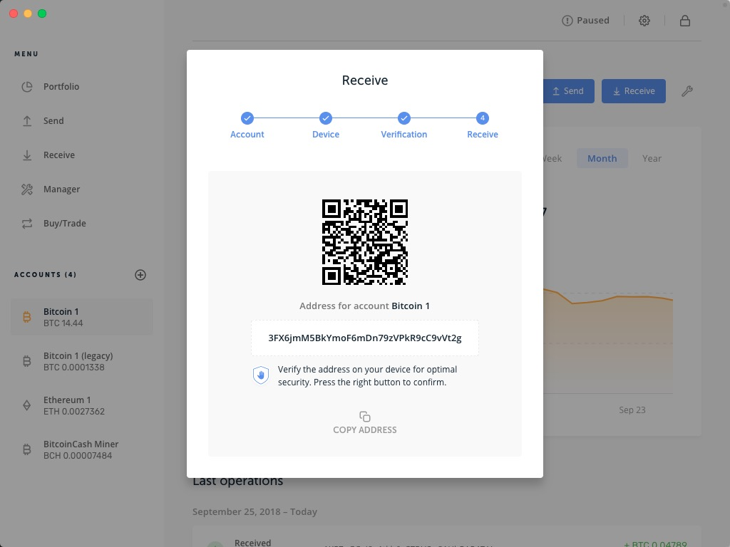 Ledger Nano S / X: A new receiving bitcoin address is generated every time