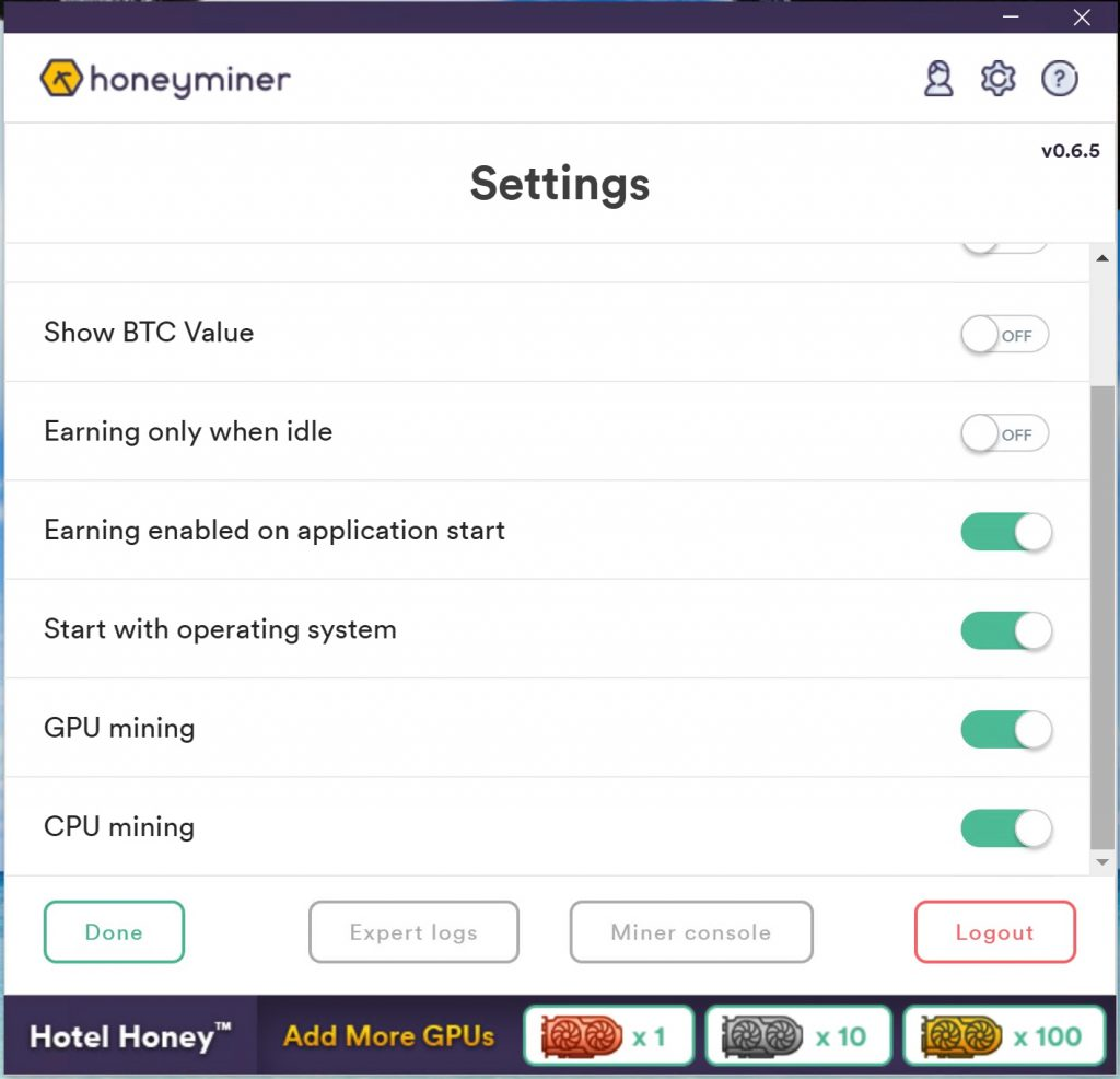 Honeyminer Tutorial: Settings to finetune the mining software