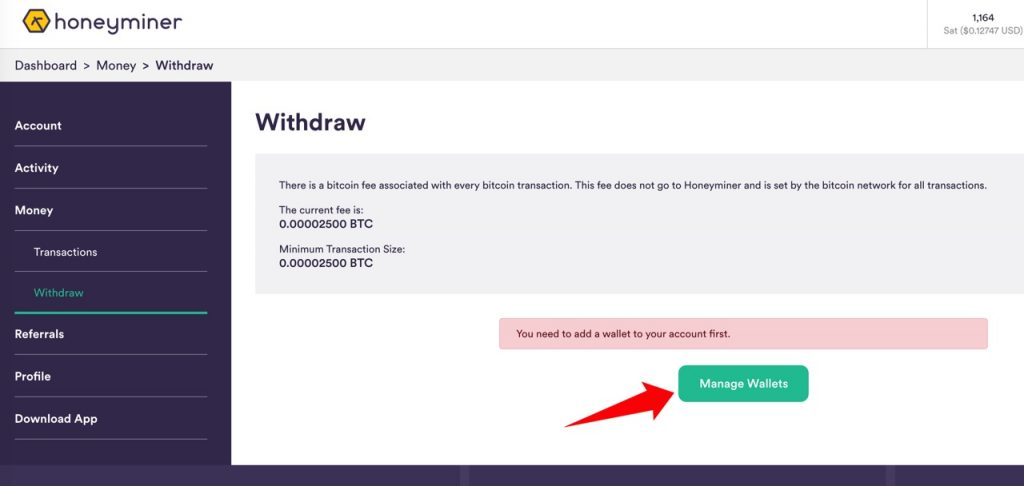 Honeyminer Tutorial: Set up bitcoin wallet address and withdraw bitcoin to your own wallet